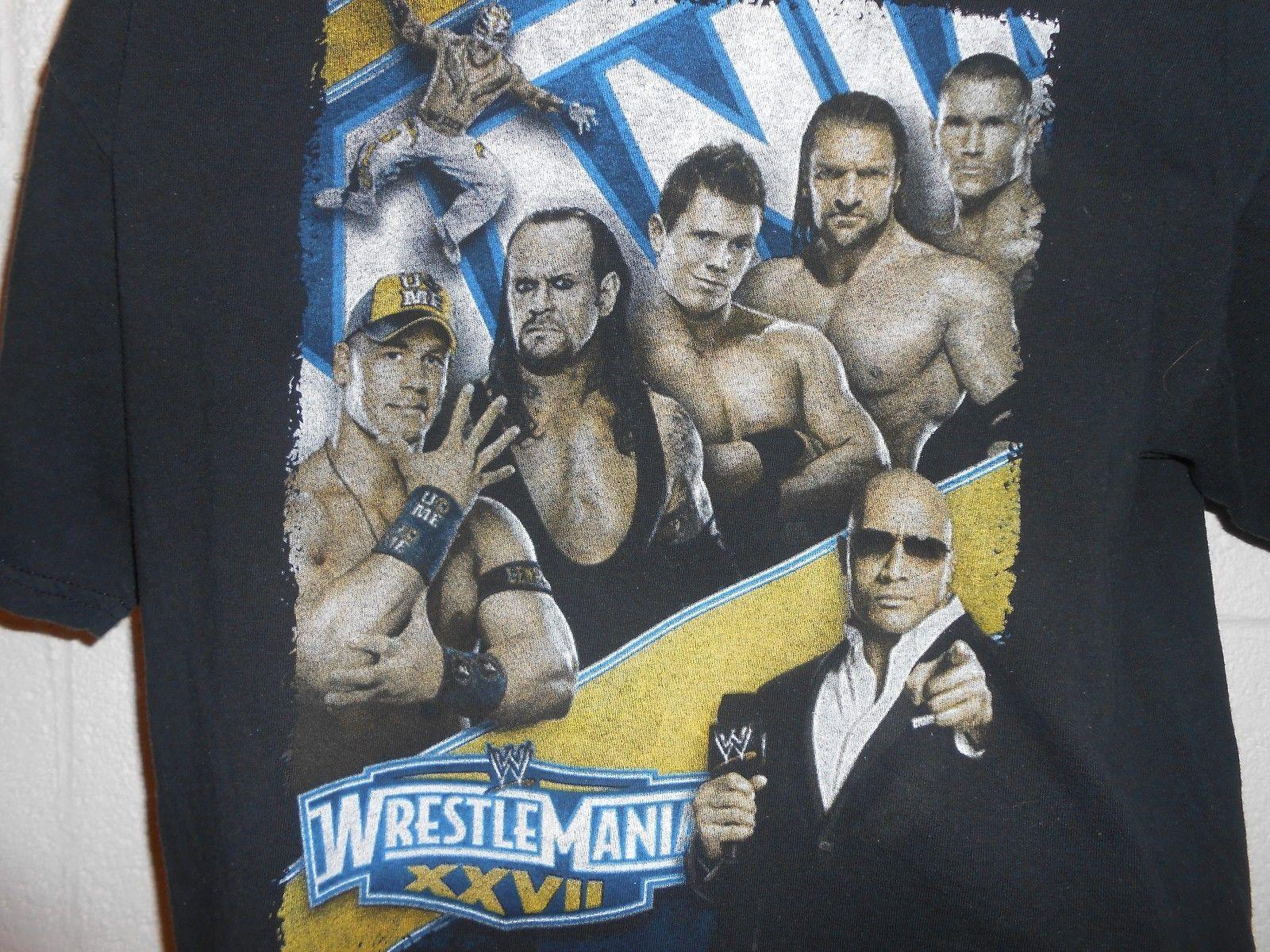 Wrestlemania XXVII 2011 WWF WWE 2 Sided T Shirt The Undertaker The Rock Sz L