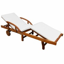 Outdoor Garden Chaise Lounge w/ Cushion Acacia Wood Patio Steamer Sunlou... - $125.99