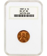 1937-D 1c NGC MS67 RD - Lincoln Cent - Old NGC Holder - $160.05
