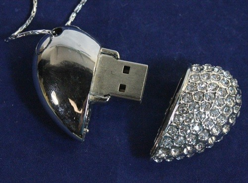 My Baby Book Digi Time Capsule silver Heart Necklace 4GB USB Drive H28