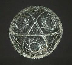Old Vintage Cut Crystal Comet Pinwheel Designs Candy Nut Dish Sawtooth Edge a - $19.79