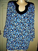 NWOT CHICO'S STRETCH BLUE/BLACK PRINT TOP SIZE CHICO'S 3 - $18.37