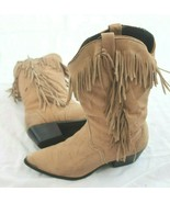 Acme SIZE 7.5 M Woman's Tan Leather Fringed Western Cowboy Ranch Boots VTG - $29.70