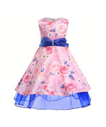 Short Flower Girl Dresses Floral Pearl Printed Pageant Dress For Girls B... - $29.00