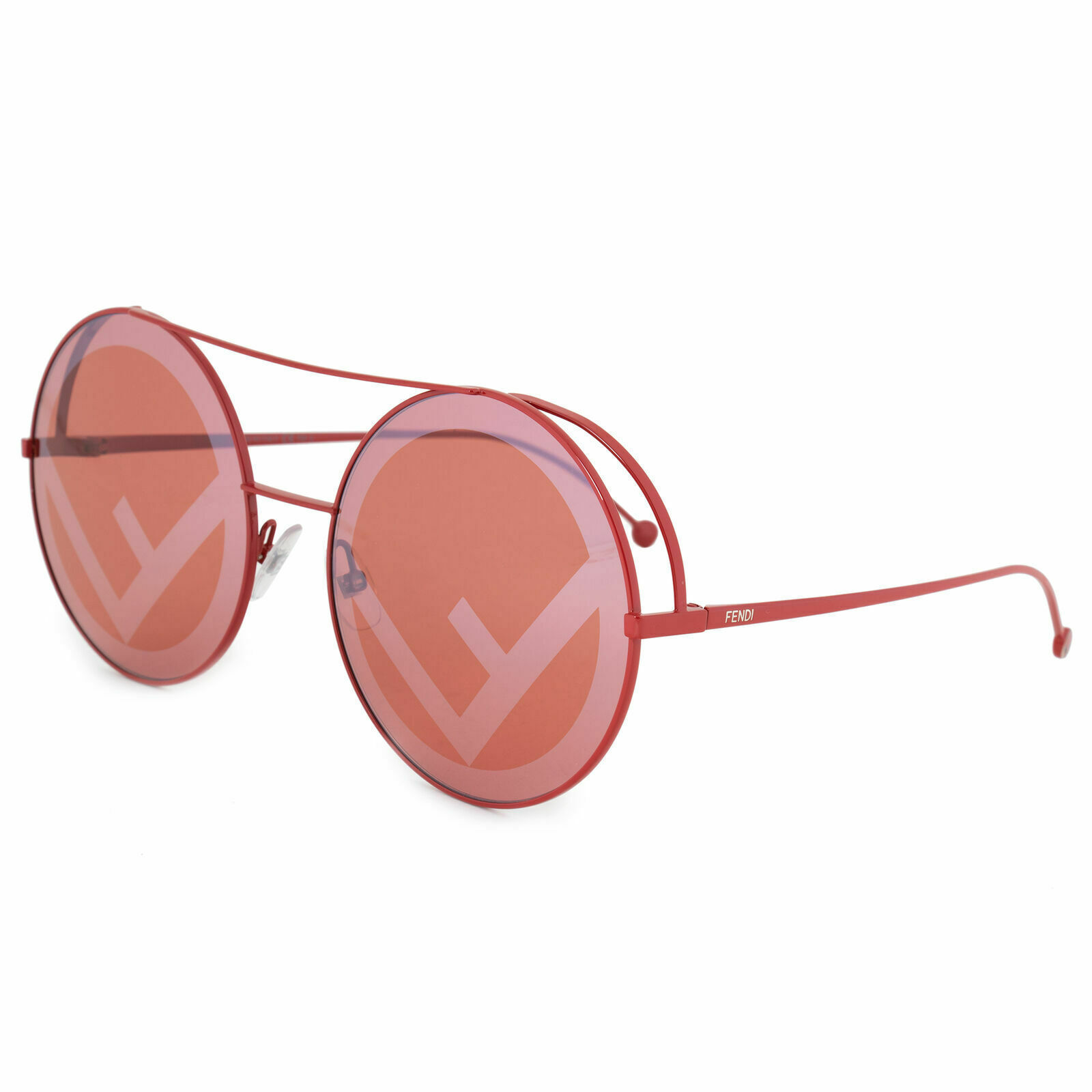 FENDI RUN AWAY FF 0285/S C9A Red Round Metal Sunglasses 63mm