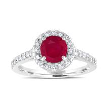 1.54 Carat Ruby Engagement Ring, With Diamonds Bridal Ring 14K White Gold - $2,300.00