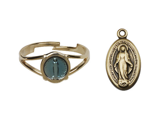 Miraculous Medal Communion Set  - Gold Plated  - Blue Background Oval Shaped - $43.99