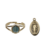 Miraculous Medal Communion Set  - Gold Plated  - Blue Background Oval Sh... - $43.99