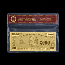 WR $5000 US Gold Banknote Dollar Bill Uncirculated Business Gift In Sleeve - $5.70