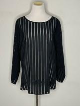 Akris Punto Womens Sheer Blouse Top Stripe Viscose Black Size 14 NWT $695 - $129.95