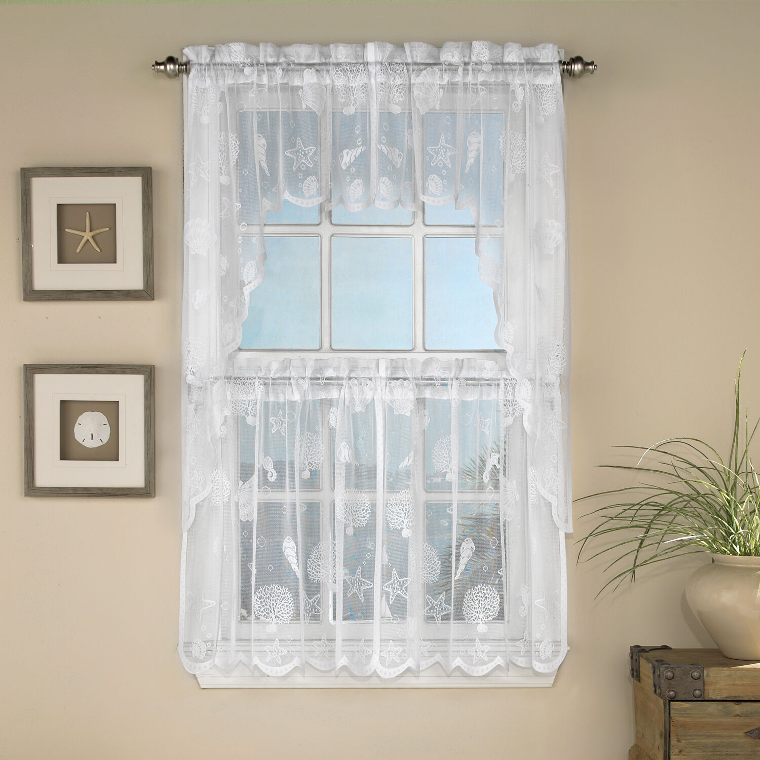 Primary image for Reef Marine White Knit Lace Kitchen Curtains Choice of Tier, Valance or Swag