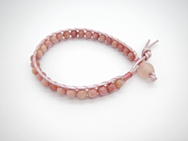 Rhodonite Leather Bracelet, Single Wrap, Natural Gemstone, Glass Bead, Pink - $24.00
