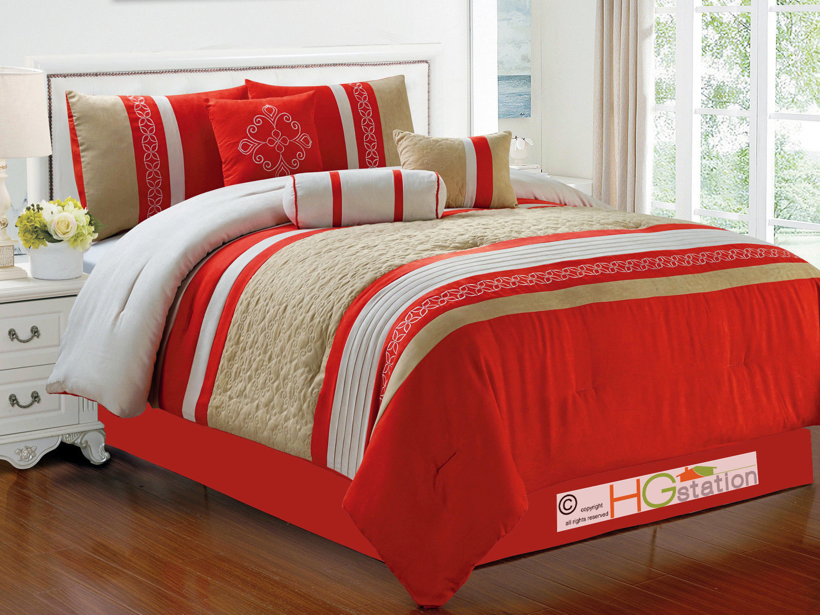 7P Quilted Damask Medallion Faux Suede Comforter Set Red