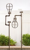 "Set of 2 - 63"" Solar Lightbulb Design Garden Stakes Iron - $197.99"