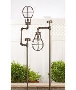 """Set of 2 - 63"""" Solar Lightbulb Design Garden Stakes Iron NEW - $197.99"""