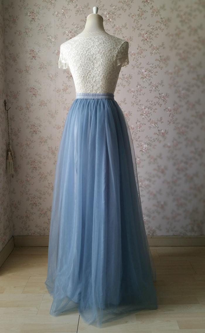 Dusty blue tulle skirt wedding 06