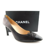 CHANEL Size 9 Black Leather Cap Toe Logo Bow Toe Heels Pumps Shoes 39 1/2 - $359.00