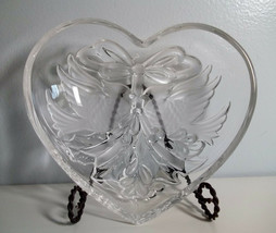 "Gorham Heart Christmas Cardinal Candy Dish Glass Bowl 7"" - $5.00"