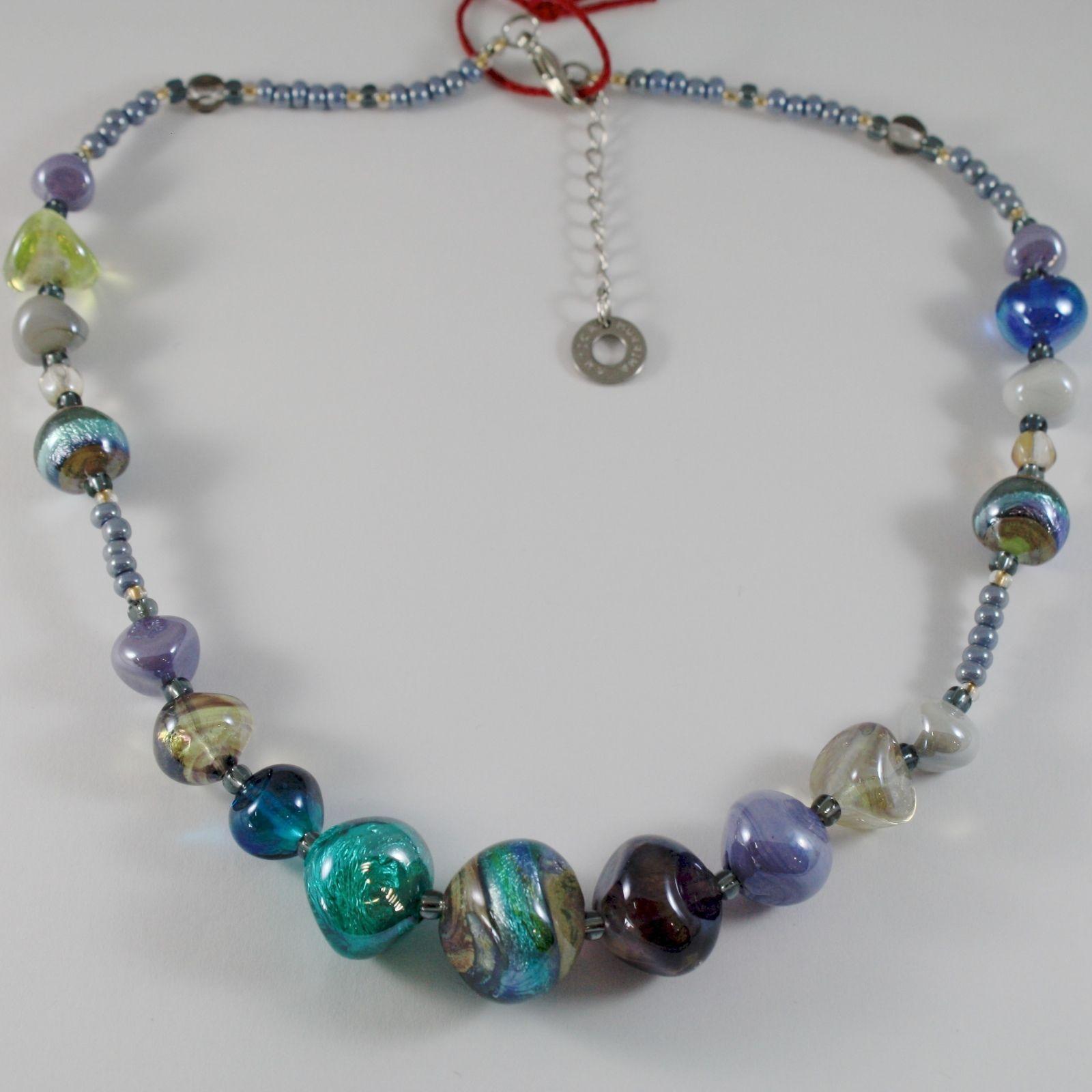 NECKLACE ANTICA MURRINA VENEZIA WITH MURANO GLASS BLUE PURPLE GREEN CO984A07