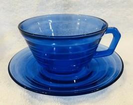Antique Modertone Cobalt Cup Saucer Hazel Atlas In Very Good Shape  - $16.34