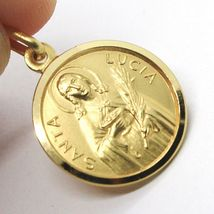 18K YELLOW GOLD HOLY ST SAINT SANTA LUCIA LUCY ROUND MEDAL MADE IN ITALY, 13 MM  image 4
