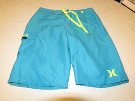 Boys Hurley youth 20 30 swim board shorts NWT surf skate brand Cyan turq... - $27.30