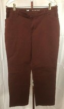 Lee Women's Burgundy All Day Pant Straight Leg Slacks Size 14 Short (34 ... - $13.95