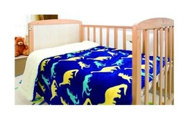 Dinosaurs Blue Baby Soft & Warm Sherpa Baby Toddler Boy Blanket Crib Com... - $19.75