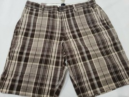 Men's Gap Brown Plaid Casual Shorts Flat Front Size 32 34 - $16.99