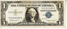 SERIES 1957 B          ONE DOLLAR SILVER CERTIFICATE==Circulated CONDITION - $2.09