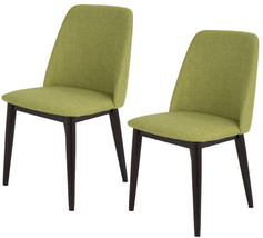 Set Of 2 Upholstered Mid-Century Solid Wood Dining Chair Kitchen Furnitu... - £129.77 GBP