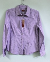 Talbots Haberdashery Purple White Stripe Fitted Long Sleeved Blouse  6 N... - $39.00