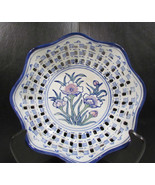 Vintage Handmade Porcelain Oriental Floral Hand Painted Blue and White Bowl - $21.75