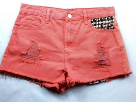 Forever 21 Women's Booty Jean Shorts Size 26 Solid Orange Raw Hem Studded - $16.00