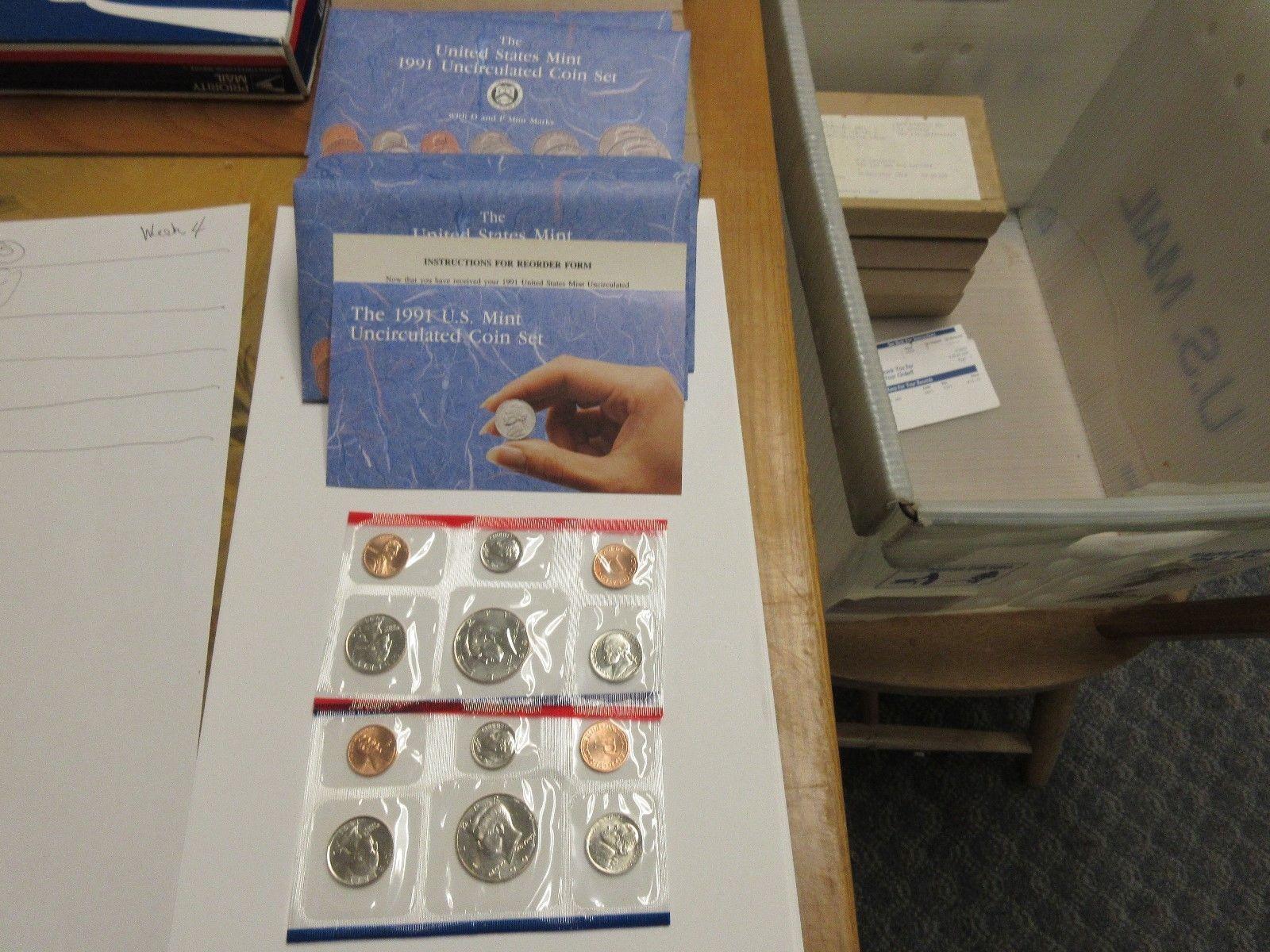 1991 , United States Mint , Uncirculated Mint Set , Lot of 5 Sets