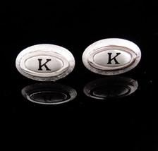 Monogrammed cufflinks / letter Script K set / Vintage silver Initial cufflinks / - $95.00