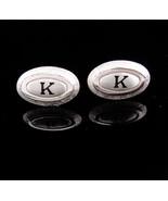 Monogrammed cufflinks / letter Script K set / Vintage silver Initial cuf... - $95.00