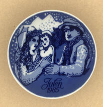 """Porsgrund Norway Porcelain Plate 1985 """"Country Christmas"""" Blue & White 7"""" - $10.74"""