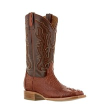 Mens Cognac Brown Crocodile Square Toe Cowboy Leather Boots Western Rodeo - £187.44 GBP