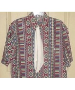 MF5 Multicolor SW-style geometric designs western short-sleeve + white t... - $18.80