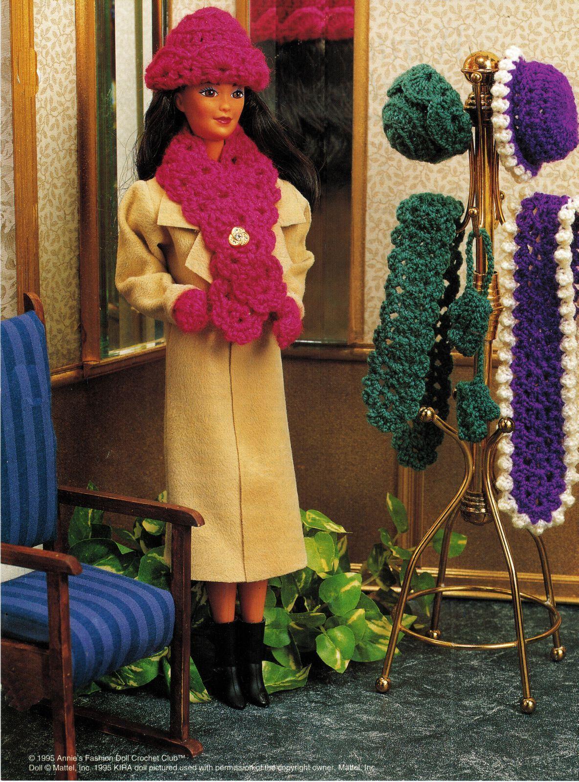 "4X Barbie 11-1/2"" Doll Winter Jog Ski Jacket Hat Boot Scarf Crochet Pattern image 4"