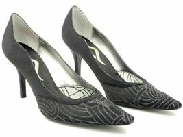 Nina Women Pointed Toe Pump Heels US 8.5M Black Satin Sparkle Mesh - $20.20