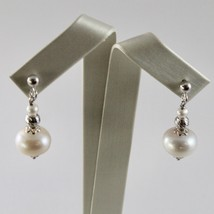 EARRINGS SILVER 925 WITH WHITE PEARLS OF WATER SWEET AND SPHERES FACETED image 1