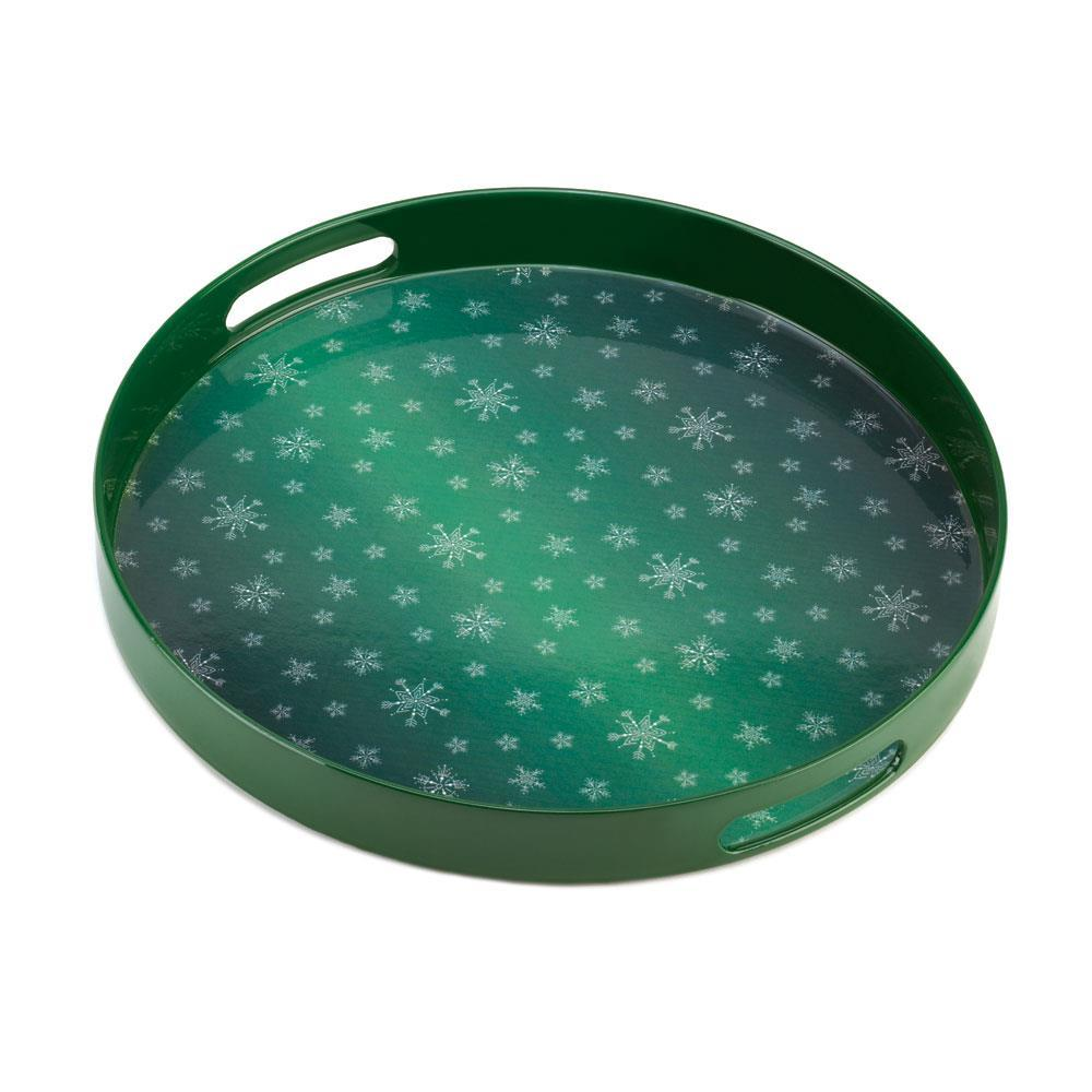 # 10015514  *Round Green Snowflake Serving Tray*