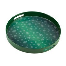# 10015514  *Round Green Snowflake Serving Tray* - €14,51 EUR