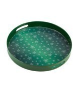 # 10015514  *Round Green Snowflake Serving Tray* - £12.85 GBP
