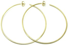 925 STERLING SILVER CIRCLE HOOPS BIG EARRINGS, 9.5cm x 2mm YELLOW SATIN FINISH image 2