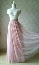 A-line Long Tulle Skirt Pink Long Tulle Skirt Wedding Tulle Skirt image 4