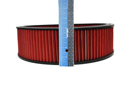 "HIGH FLOW WASHABLE & REUSABLE ROUND AIR FILTER ELEMENT REPLACEMENT 14"" X 4"" RED image 3"