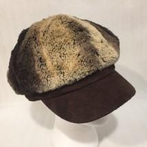Nine West Newsboy Cap Plush Brown Tones Fleece Lined Osfm - $15.94